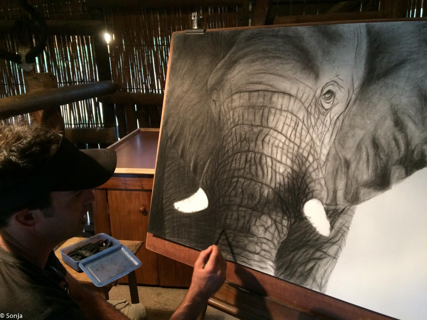 beautiful painting of an elephant being made
